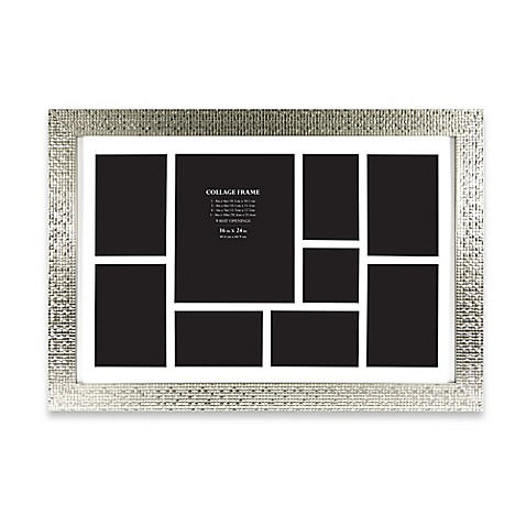 9-Photo Collage Picture Frame in Silver Tile Finish - Bed Bath & Beyond