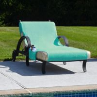 Linum Home Textiles Chaise Lounge Cover in Aqua with Accessory Pockets