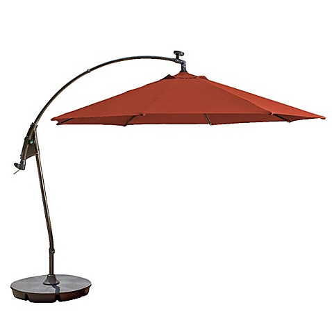 11 Foot Round Solar Cantilever Umbrella In Sunbrella