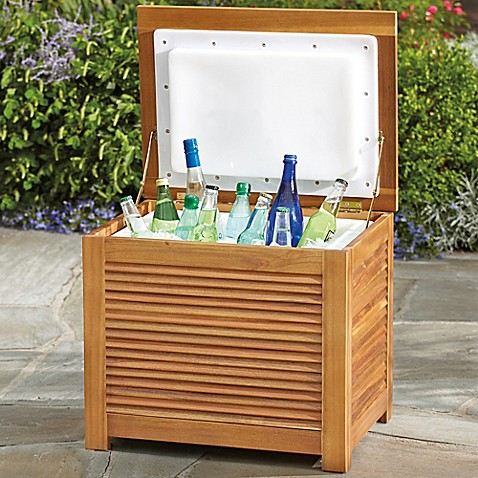 Westerly acacia wood 36 qt cooler box bed bath beyond for Wooden attic box bed