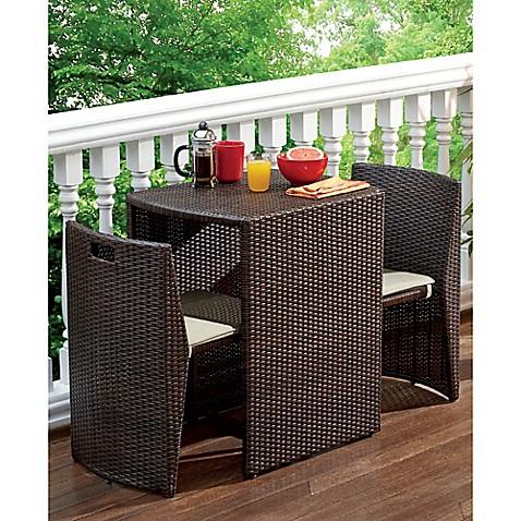 3 piece steel wicker outdoor dining set in bronze finish for Outdoor furniture varnish