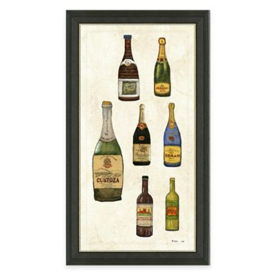 Framed Giclée Wine Bottles Panel II Print Wall Art