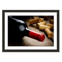Framed Giclée Wine Bottle and Corks Print Wall Art