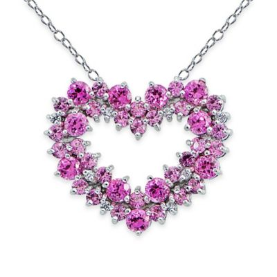 Buy sterling silver and pink sapphire heart necklace from bed bath sterling silver lab created white and pink sapphire open cluster heart pendant necklace aloadofball Gallery