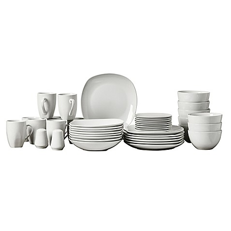 Tabletops Gallery® Quinto 50-Piece Square Dinnerware Set - Bed Bath ...
