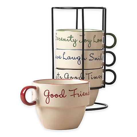 Tabletops Gallery 174 Sentiment 5 Piece Stacking Mug Set