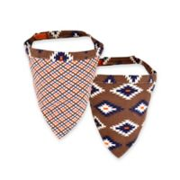 Territory® Modern Medium Reversible Dog Bandana in Brown/Blue/White/Orange