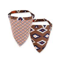 Territory® Modern Small Reversible Dog Bandana in Brown/Blue/White/Orange