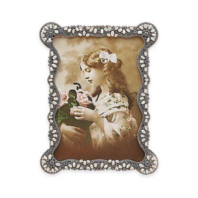 tizo design 5 inch x 7 inch faux pearl picture frame in silver