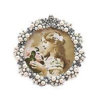 Tizo Design 3.5-Inch Round Faux Pearl Cluster Jeweltone with Crystals Picture Frame
