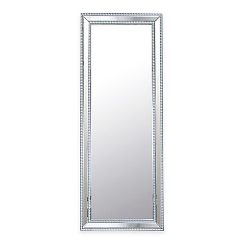 white leaning floor mirror. Abbyson Living® Venice Rectangular Studded Leaning Floor Mirror In Silver White 4