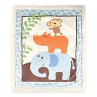 BabyVision® Luvable Friends® Safari Sherpa Blanket in Blue