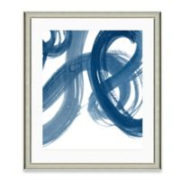 Navy Brushstroke I Framed Art Print