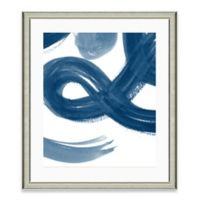 Navy Brushstroke II Framed Art Print