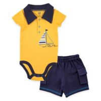 BabyVision® Size 9-12M 2-Piece Sailboat Bodysuit and Cargo Short Set in Yellow