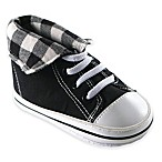 BabyVision® Luvable Friends® Size 6-12M Fold-Down Hi-Top Sneaker in Black