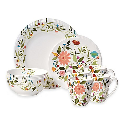 Kim Parker Collection Gourmet Basics by Mikasa® Woodland Floral 16-Piece Dinnerware Set  sc 1 st  Bed Bath u0026 Beyond & Kim Parker Collection Gourmet Basics by Mikasa® Woodland Floral 16 ...