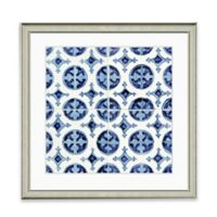 Blue Tile Pattern II Framed Art Print