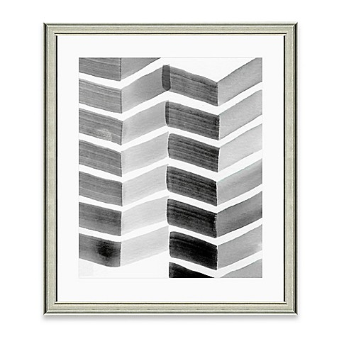 image of Framed Giclée Watercolor Grey Chevron Print Wall Art
