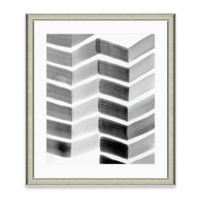 Framed Giclée Watercolor Grey Chevron Print Wall Art