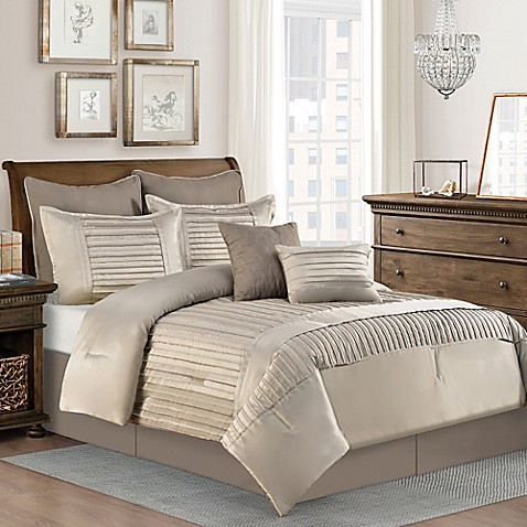 Dansville 8 Piece Comforter Set In Taupe Bed Bath Amp Beyond