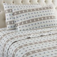 Micro Flannel® Striped Reindeer Twin Sheet Set