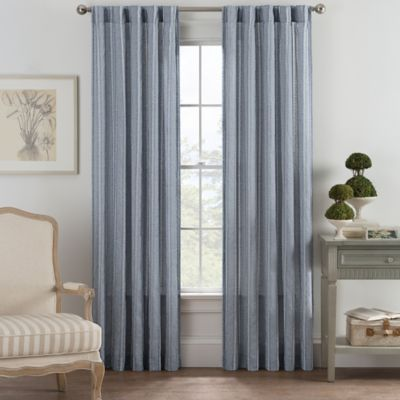 bayport fringe 63inch rod pocketback tab window curtain panel in blue