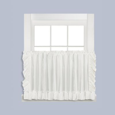 sarah 24inch window curtain tier pair in white - Tier Curtains