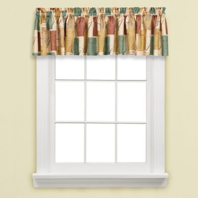Tranquility Window Valance in Blue/Tan