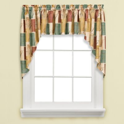 Tranquility Swag Valance in Blue/Tan
