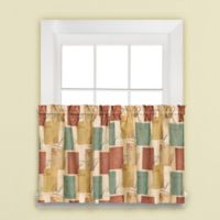 Tranquility 24-Inch Window Curtain Tier Pair in Blue/Tan