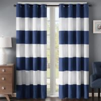 Regency Heights Parker Stripe 63-Inch Grommet Window Curtain Panel in Navy/White