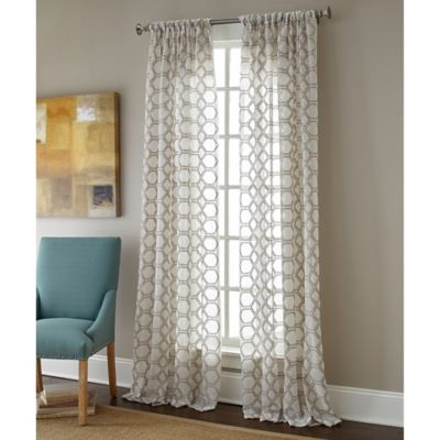 Sherry Kline Contempo 63 Inch Rod Pocket Embroidered Sheer Window Curtain Panel