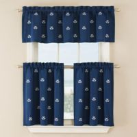 Crossed Anchor 24-Inch Window Curtain Tier Pair in Navy