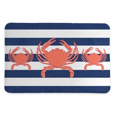 Laural Home® 20-Inch x 30-Inch Crab Stripe Memory Foam Rug - Buy Nautical Bath Rugs From Bed Bath & Beyond