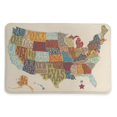 Laural Home 20 Inch X 30 States Collage Memory Foam Rug