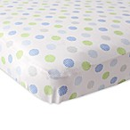 BabyVision® Luvable Friends® Knitted Cotton Crosshatch Dot Fitted Crib Sheet in Blue