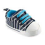 BabyVision® Luvable Friends™ Size 12-18M Basic Canvas Sneaker in Navy with White Stripes