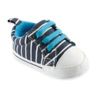 BabyVision® Luvable Friends™ Size 0-6M Basic Canvas Sneaker in Navy with White Stripes