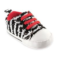 BabyVision® Luvable Friends™ Size 0-6M Print Canvas Sneakers in Black/White