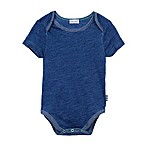 Splendid® Size 3-6M Short Sleeve Stripe-Trim Bodysuit in Indigo