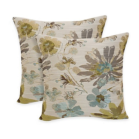 Arlee Home Fashions Perla Woven Floral Square Throw Pillow In Silver Sage Set Of 2 Bed Bath