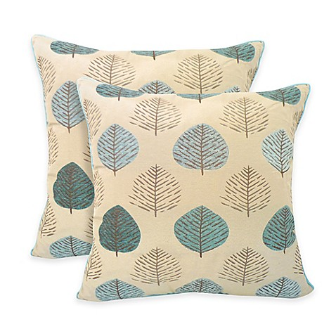 Arlee Home Fashions Shelbie Jacquard Leaf Reversible Square Throw Pillow In Sky Blue Set Of 2