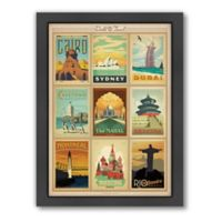 World Travel Multi Print 2 Framed Wall Art by Anderson Design Group
