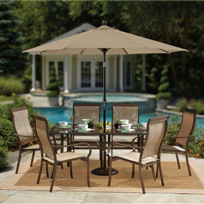Charming 9 Foot Round Auto Tilt Aluminum Market Umbrella In Sunbrella® Beige