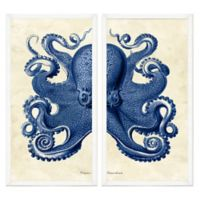 Framed Giclée Navy Octopus Diptych Wall Art