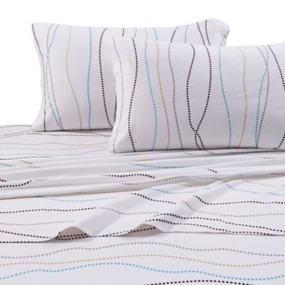 tribeca living 170 gsm print flannel deep pocket california king sheet set in white - Cal King Sheets