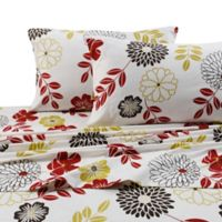 Tribeca Living 170 GSM Print Flannel Deep Pocket Twin Sheet Set in Red/White