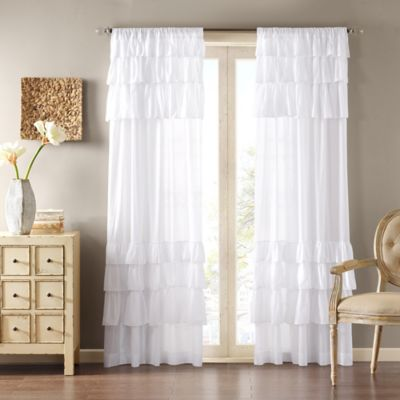 Madison Park Anna 84-Inch Rod Pocket Window Curtain Panel in White - Buy White Ruffle Curtains From Bed Bath & Beyond