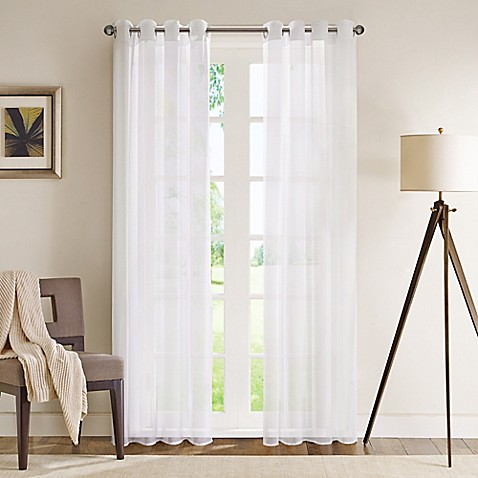 image of Madison Park Wynn 84-Inch Grommet Top Sheer Window Curtain Panel in White